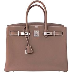 Pre-owned Modern Chic Hermes Etoupe Togo Birkin 35cm Palladium Phw... ($21,350) ❤ liked on Polyvore featuring bags, handbags, tote bags, beige, leather tote purse, brown leather tote bag, leather purse, brown tote bag and brown leather purse