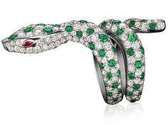 Divine Serpent Spotted Ring in 18k white gold with diamonds, emeralds and rubies.  #tabbah #houseoftabbah