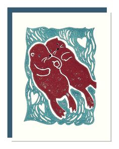 Otters Holding Hands  Wedding Anniversary Save the by noraalice, $5.00