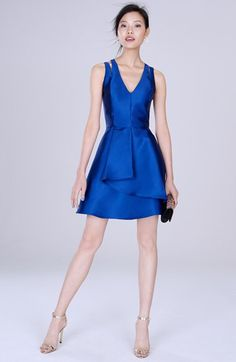Adelyn Rae Adelyn Rae Cross Back Twill Fit & Flare Dress available at #Nordstrom