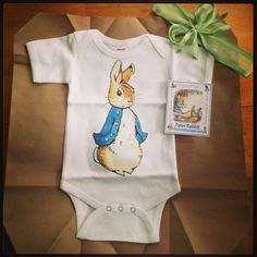 Bought this as a gift for a girl I work with from chitownboutique.etsy: Peter Rabbit onesie, adorable