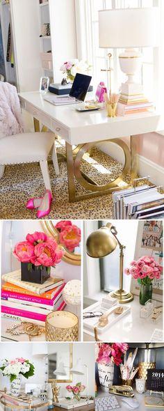 Inspirações pro meu futuro quarto: uma mistura de branco, dourado e magenta, com altas doses de delicadeza e muita luminosidade!