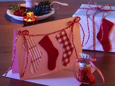 Biglietto di Natale con calzine