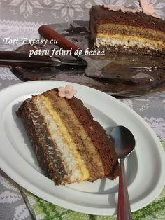diana's cakes love: Tort Extasy cu patru feluri de bezea Russian Cakes, Russian Desserts, Homemade Sweets, Homemade Cakes, Romanian Desserts, Romanian Food, Cake Flavors, Food Cakes, Sweet Cakes