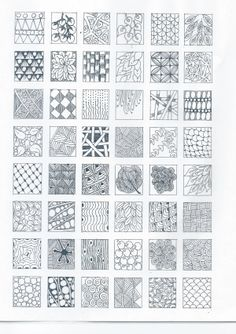 Designs To Draw Simple Patterns Easy Luxury Zentangle Designs Start Practicing Each Design Tangle On A Square - prekhome Dibujos Zentangle Art, Zentangle Drawings, Doodles Zentangles, Doodle Drawings, Easy Drawings, Doodle Art, Pencil Drawings, Pattern Art, Pattern Design