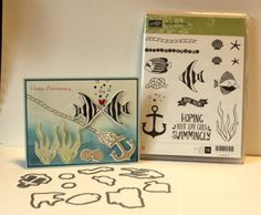 Stampin up~Seaside Shore clear set & matching Dies by Dave~Coral Fish Anchor NEW Dies By Dave, Seaside, Anchor, Stampin Up, Greeting Cards, Coral, Fish, Day, Nautical