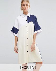 ZACRO Color Block Shirt Dress