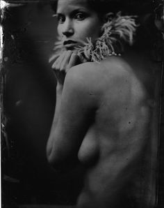 "Kristen Hatgi Photography/ Hatgi Sink Studios: ""Shelby with Feather"", 2008. Wet Plate Collodion"