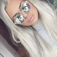 """So """"REAL"""" Futuristic Metal Bar Top Mirror Split Lenses Women Sunglasses in Clothing, Shoes & Accessories, Women's Accessories, Sunglasses & Fashion Eyewear Pelo Color Gris, Blonde Grise, New Hair, Your Hair, White Blonde, Silver Blonde, Shades Of Blonde, Platinum Blonde Hair, Hair Inspo"""