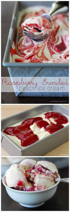 Homemade Raspberry Swirled Peach Ice Cream can be made with only 5 ingredients a., Desserts with Sherbet Ice Cream Treats, Ice Cream Desserts, Ice Cream Flavors, Frozen Desserts, Frozen Treats, Just Desserts, Delicious Desserts, Dessert Recipes, Peach Ice Cream Recipe