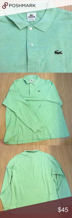 Men's Lacoste polo Men's Lacoste long-sleeve polo heather green color in excellent condition. Size 7 is equivalent to an XL Lacoste Shirts Polos