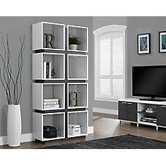 Manufactured Wood Cubed Bookcase in White