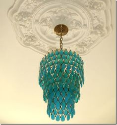 turquoise chandelier I like the color .don't think chandelier think lantern this color. Green Chandeliers, Turquoise Chandelier, Glass Chandelier, Turquoise Glass, Vintage Chandelier, Chandelier Lighting, Entry Chandelier, Unique Chandelier, Chandelier Ideas
