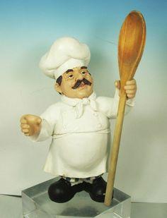 Chic Decor Fat Chef Figurine/Statue/Utensil Stand/Country Kitchen Home Decor
