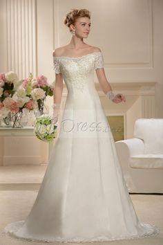 238e530bfffd Fabulous A-line Floor-length Chapel Bateau Short-Sleeves Wedding Dress  Brudklänningar I