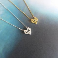 Origami Fox necklace, Origami Fox Head Necklace, Geometric Fox Necklace, Abstract Necklace (Available 18K Gold Plating & Silver Plating)