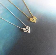 Origami Fox collier Origami Fox Head collier géométrique Fox, abstraite (disponible 18K Gold Plating & argent Plating)
