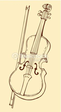 Vector Line Drawing Of A Violin And Bow Vector Art 466033365
