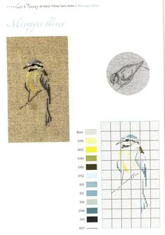 0 point de croix grille et couleurs de fils de marie therese st aubin oiseau silhouette mésange