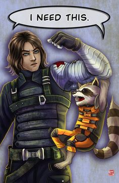 Rocket trying to take Bucky's arm