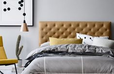 The Alessio leather bedhead combines contemporary buttoning with sleek styling. As with all Heatherly bedhead designs, it is available in fabric or leather. Bedhead Design, Bedding Master Bedroom, Master Bedrooms, Leather Bed, Grey Leather, Types Of Beds, Bed Base, Upholstered Beds, Bed Head