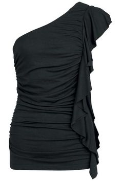 EMP ONE SHOULDER GATHERED TOP IN BLACK