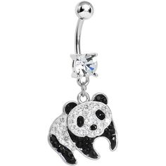 Clear Gem Precious Panda Bear Dangle Belly Ring | Body Candy Body Jewelry