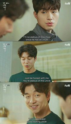 It's actually Deok Hwa Korean Drama Funny, Korean Drama Quotes, Goblin The Lonely And Great God, Goblin Korean Drama, Goblin Gong Yoo, K Drama, Park Hyung, Song Joong, Yoo Gong