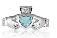 Want to get a new Claddagh ring with my birthstone (aquamarine) - just bought it <3