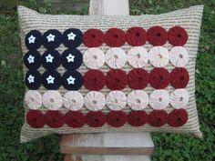 yo yo US flags pillow