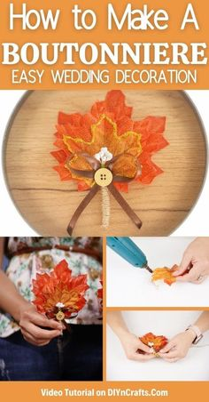 This beautiful fall leaf boutonniere wedding accessory project is a great way to add natural rustic beauty to your wedding on a budget! This easy DIY wedding accessory is a great project that saves money on your wedding and can be used for many fall accents around your home. #Boutonniere #FallWedding #Wedding #WeddingDecor Budget Wedding, Fall Wedding, Diy Wedding, Wedding Ideas, Fall Projects, Diy Craft Projects, Fall Crafts, Crafts For Kids, Create And Craft
