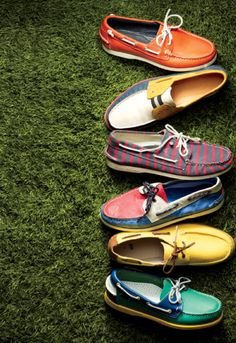 multi-colored boat shoes