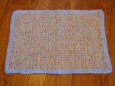 Hand Made Crochet Rag Rug Multi Color Cottage by GandTVintage