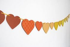 Recycled Paper Heart Bunting by the green gables