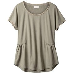 East Silk Trim Detail Top, Khaki ($21) ❤ liked on Polyvore featuring tops, t-shirts, shirts, short sleeve shirts, sleeve shirt, cotton t shirts, t shirt and khaki shirt