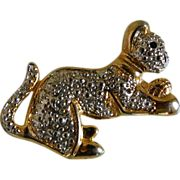Gold and Silver Tone Kitty Pin 1960-1970's