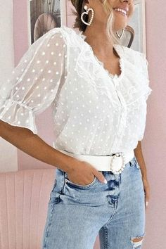 Oh Hello Clothing, Lace Detail, Vintage Fashion, Ruffle Blouse, Fabric, Sleeves, Model, Pearl, Buttons