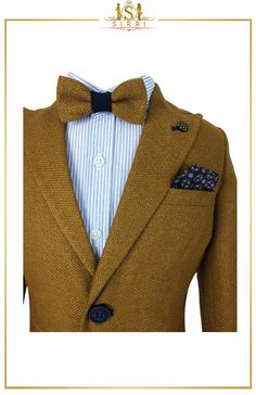 An adorable smart casual outfit that has all you need. This Beau KiD designed combo includes a lovely tweed jacket with cotton stretch chino trousers as well as a shirt and cute bow tie. Shop now at SIRRI kids #suits for boys for #wedding #communion online...Elegant fashion for children and men. #fashion #shopping