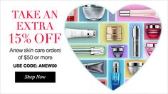 AVON DEAL ALERT...Take and EXTRA 15% off Anew skin care orders of $50 or more, use code ANEW50 at check out so visit www.youravon.com/mhamilton39 and save today. Register your email with me and get 10% off your next purchase plus other great offers. Thanks and Happy Shopping!