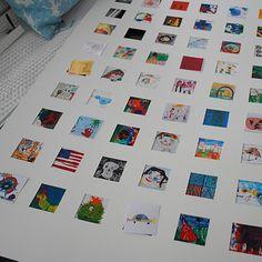 cute kids artwork: scanned, miniaturized, printed, framed