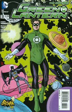 Mike Allred Batman variant cover for Green Lantern Green Lantern Sinestro, Batman Green Lantern, Green Lantern Hal Jordan, Green Lantern Corps, Green Lanterns, Dc Comics Heroes, Fun Comics, Comic Book Characters, Comic Books Art