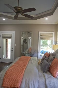 Coral and grey bedroom by lesa