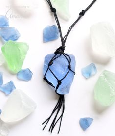 Learn how to make an easy DIY macrame sea glass necklace.