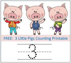 3 Little Pigs Counting Worksheets free download