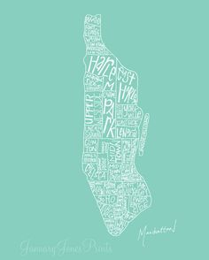 Manhattan neighborhoods NYC art wall poster #Etsy