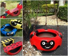 Ladybug Tire Swing and Tire See Saw