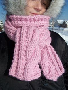 Pink Chunky Scarf  Cable Long Knit Ladies Wiinter by KnitzAndFeltz, $43.00