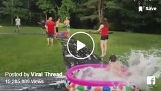 Slip and Slide Baseball with kiddy pool bases
