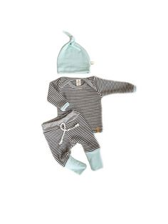 Baby boy Coming Home Outfit / boy take home set. Navy blue stripes with mint blue and gray trim and matching hat! This one of a kind baby set, it is