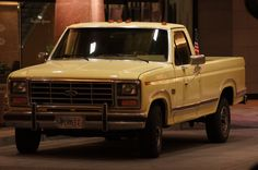 Perry's F150.  It's an '84 XLT, which is fully-loaded.  He died in 2006, so I inherited it.  In the spring of 2008, I started giving it a 'rolling restoration'.  It was originally white, but I decided to use this 'Crocus Yellow', instead, which is actually found on mid-60s Chevy cars (Impala, Chevelle, Malibu, etc).  I've added the cab lights, otherwise have kept it wholly stock.